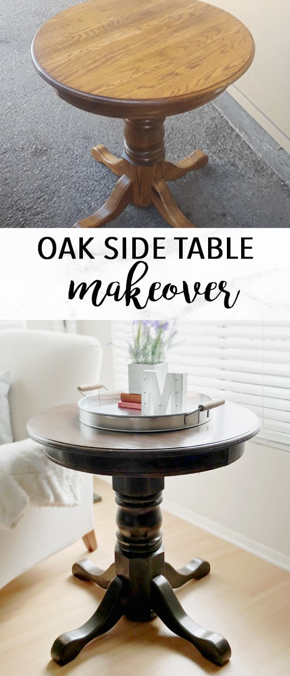 DIY Dining Table and Chairs Makeover • Ideas & Tutorials, including this farmhouse table makeover DIY Oak Side Table DIY Furniture Makeover copy-min